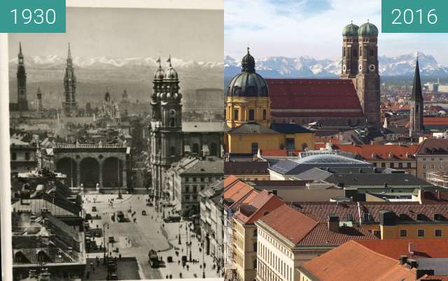 Before-and-after picture of Odeonsplatz und Theatinerkirche von Ludwigskirche between 1930 and 2016-Jan-21