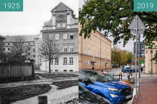 Before-and-after picture of Ulica Nowowiejskiego between 1925 and 2019