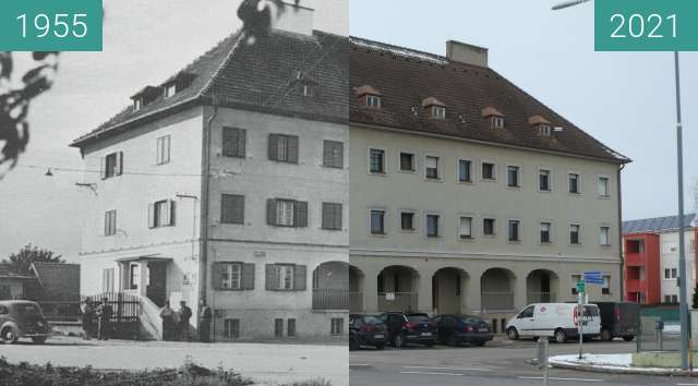 Before-and-after picture of Nickelsdorf Zollhaus between 1955-Jan-16 and 2021-Jan-16