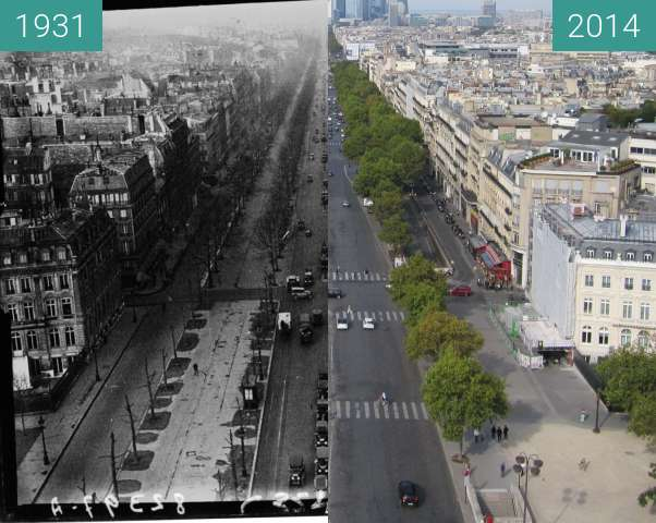 Before-and-after picture of Avenue de la Grande Armée between 1931 and 2014-Sep-28