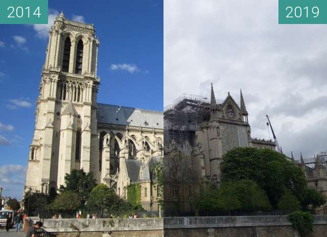 Before-and-after picture of Notre-Dame after the fire between 2014-Sep-03 and 2019-May-05