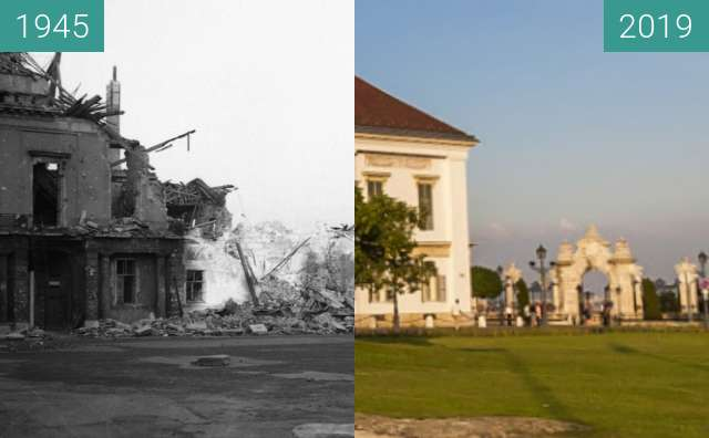 Before-and-after picture of Sandor Palace in Budapest between 1945 and 2019