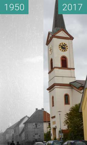 Before-and-after picture of Kirche in Bobenheim-Roxheim between 1950 and 2017-Oct-08