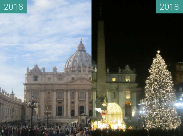 Before-and-after picture of St. Peter's Basilica between 2018-Jan-04 and 2018-Jan-05