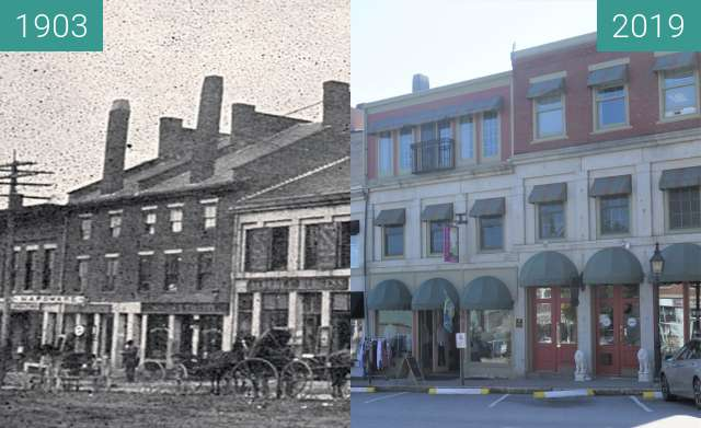Before-and-after picture of Downtown Belfast, Maine; Main Street between 1903 and 2019-Aug-20