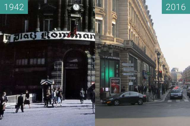 Before-and-after picture of Place de l'Opéra (Occupation of Paris) between 1942 and 2016-Mar-13