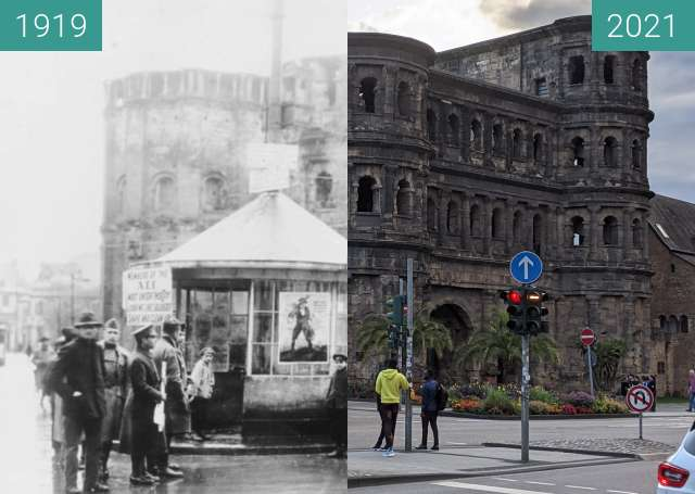 Before-and-after picture of Trier between 1919-Apr-16 and 2021-Aug-09