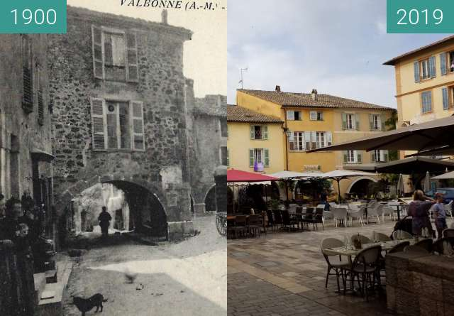 Before-and-after picture of Place des arcades Valbonne 500 ans between 1900 and 2019-Jun-10