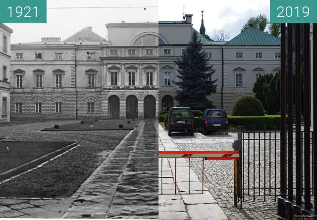 Before-and-after picture of Health minister in Warsaw between 1921 and 2019