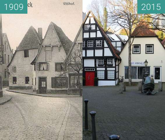 Before-and-after picture of Vitihof between 1909 and 2015-Dec-30
