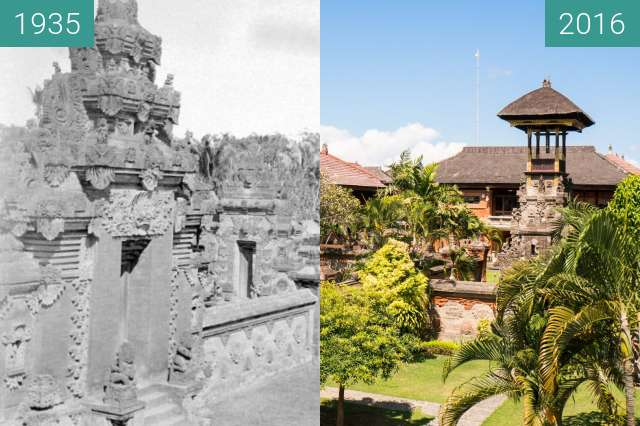 Before-and-after picture of View over the Bali-Museum in Denpasar between 1935 and 2016-Jun-07