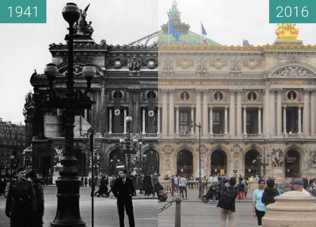 Before-and-after picture of Opéra Garnier (Occupation of Paris) between 1941 and 2016-Sep-25