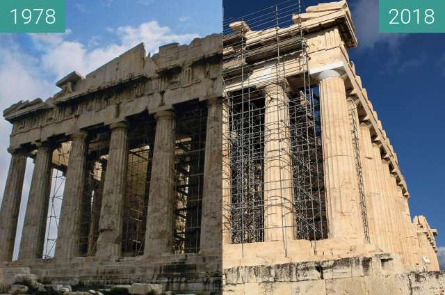 Before-and-after picture of Front view of the Parthenon of the Acropolis between 1978-Apr-01 and 2018-Oct-28