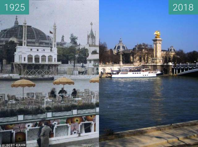 Before-and-after picture of Quai des Champs-Elysées between 1925-May-12 and 2018-Feb-24