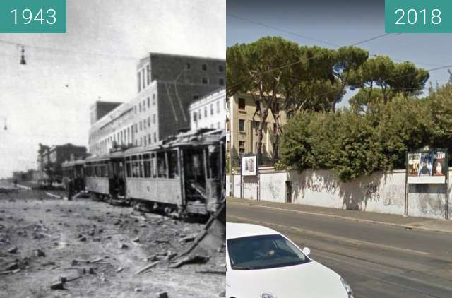 Before-and-after picture of San Lorenzo, Rome, July 1943 Bombings #2 between 1943-Jul-20 and 2018-Jul-22