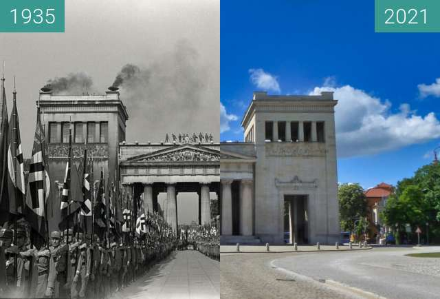 Before-and-after picture of SA-Aufmarsch am Königsplatz; München between 1935 and 2021-May-25