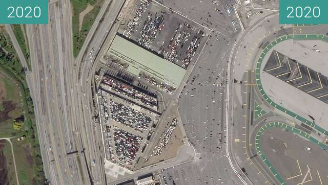 Before-and-after picture of San Francisco Airport between 2020-Feb-09 and 2020-Mar-30