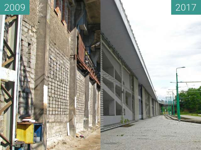Before-and-after picture of Rondo Kaponiera Poznań. Stacja PST. Parking. between 2009 and 2017