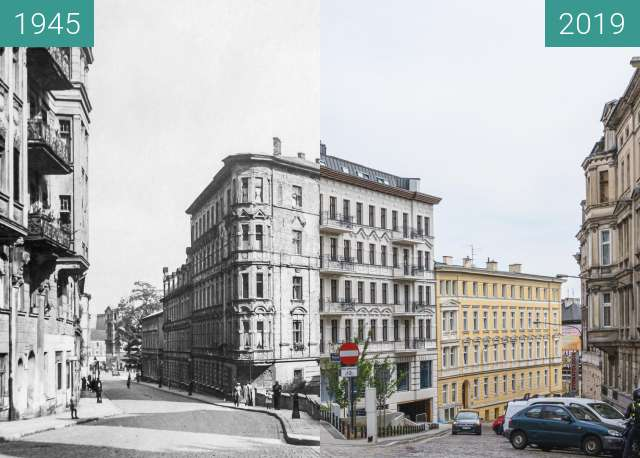 "Before-and-after picture of Ulice Krysiewicza/Ogrodowa, kamienica ""Żelazko"" between 1945 and 2019"