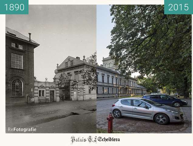 Before-and-after picture of Karl Scheibler's Palace between 1890 and 2015
