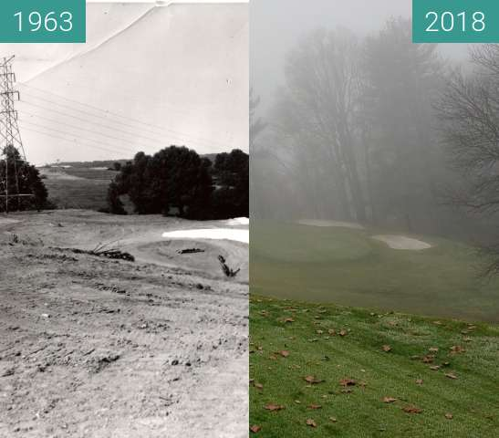 Before-and-after picture of Golf hole during construction in 1963 and today. between 1963 and 2018-Dec-02