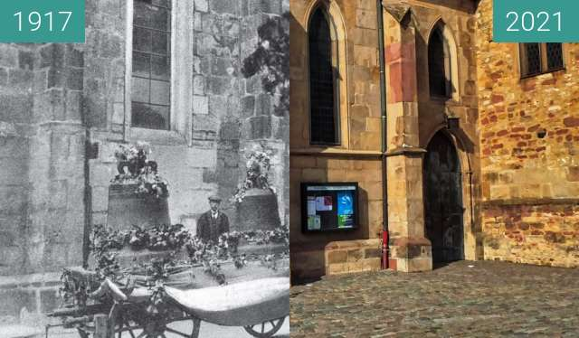Before-and-after picture of Bad Dürkheim; Schlosskirche between 1917-Aug-01 and 10/2021