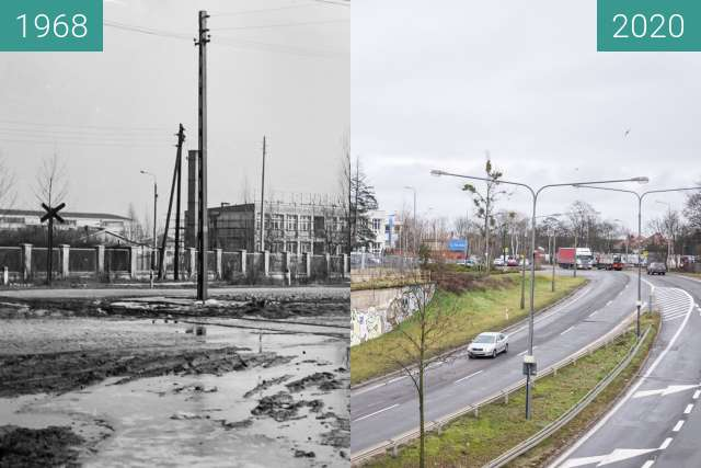 Before-and-after picture of Ulice Dąbrowskiego/Lutycka between 1968 and 2020-Feb-03
