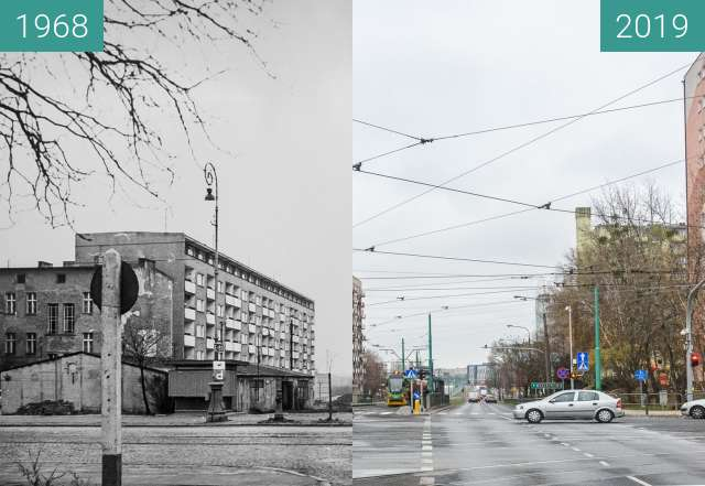 Before-and-after picture of Ulica Hetmańska between 1968 and 2019