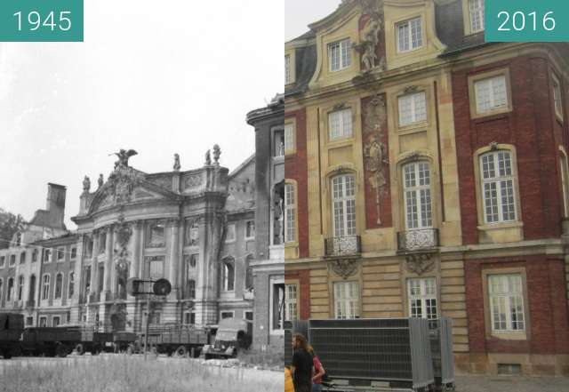 Before-and-after picture of Schloss Münster between 1945 and 2016-Sep-02