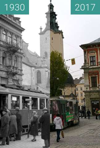 Before-and-after picture of Cathedral Basilica of the Assumption between 1930 and 2017-Apr-20