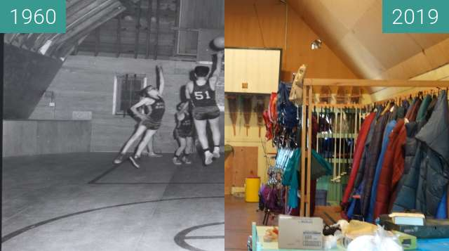 Before-and-after picture of Loft of the Art Barn at YBGR between 1960 and 2019