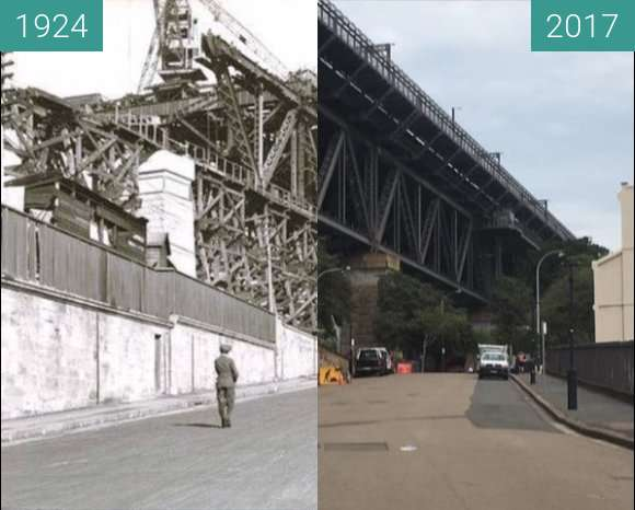 Before-and-after picture of Sydney Harbour Bridge between 1924 and 2017