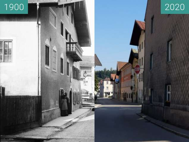 Before-and-after picture of Schützenstraße Traunstein01 between 1900 and 08/2020