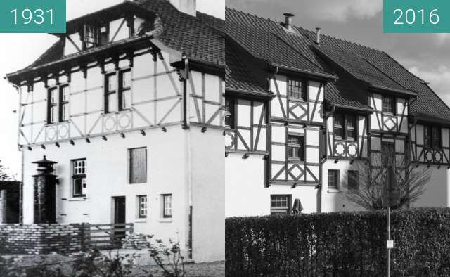 Before-and-after picture of Bahnhof Wulffskotten Hasbergen. between 1931 and 2016-Feb-24
