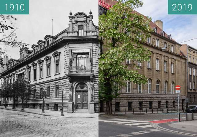 Before-and-after picture of Plac Wolności, ulica Nowowiejskiego between 1910 and 2019-May-23