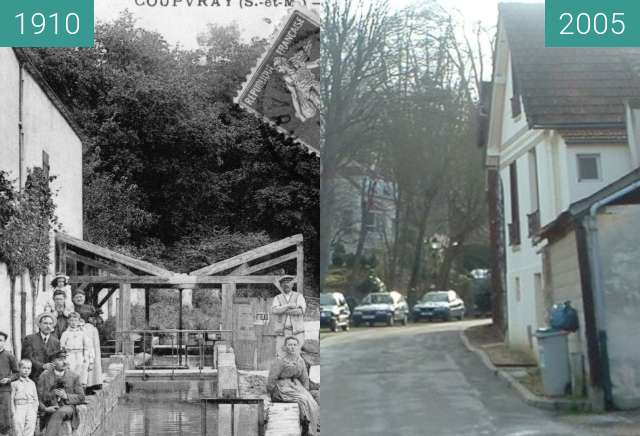 Before-and-after picture of Coupvray: rue du Moulin between 1910 and 2005-Jan-13