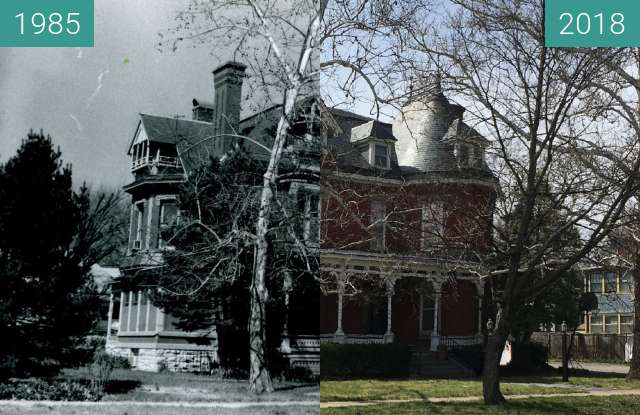 Before-and-after picture of Henry Tisdale Home between 1985 and 2018-Apr-17