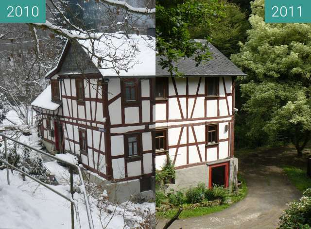 Before-and-after picture of Bornsmühle between 2010-Jan-12 and 2011-Jun-12