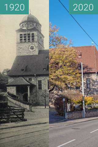 Before-and-after picture of Stuttgart - Erlöserkirche between 1920 and 2020-Nov-14