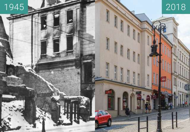 Before-and-after picture of Ulica Paderewskiego between 1945 and 2018