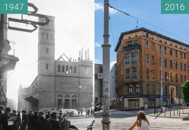 Before-and-after picture of Plac Wiosny Ludów between 1947 and 2016