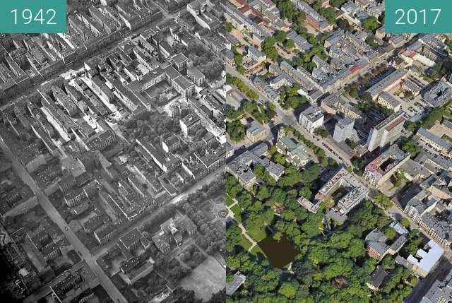 Before-and-after picture of Part of Lodz city centre  between 1942 and 2017