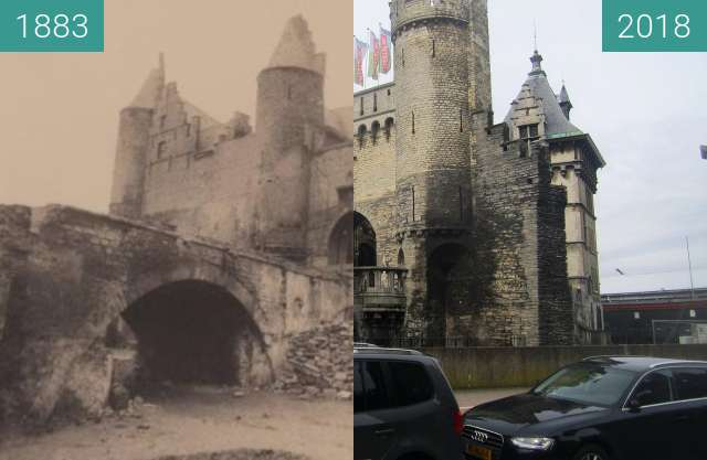 Before-and-after picture of Het Steen between 1883 and 2018-Apr-02