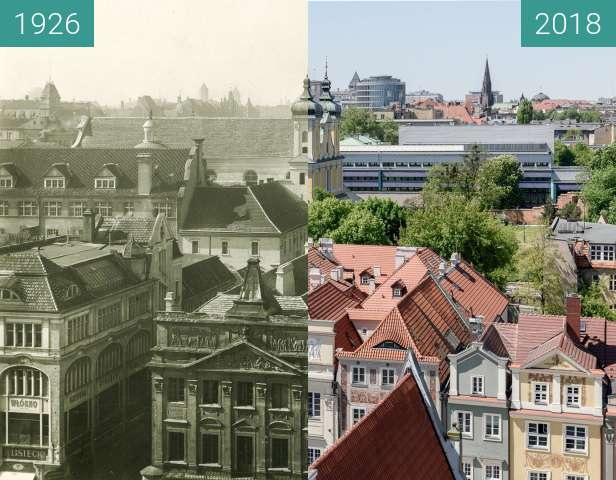 Before-and-after picture of Widok z wieży ratuszowej between 1926 and 2018