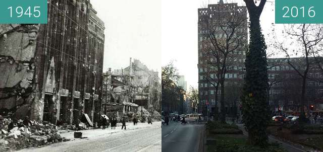 Before-and-after picture of Düsseldorf - Wilhelm-Marx-Haus 1945/2016 between 1945 and 2016-Dec-05