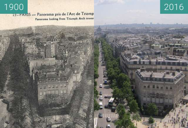 Before-and-after picture of Avenue Hoche/Avenue Friedland between 1900 and 2016-Jun-25