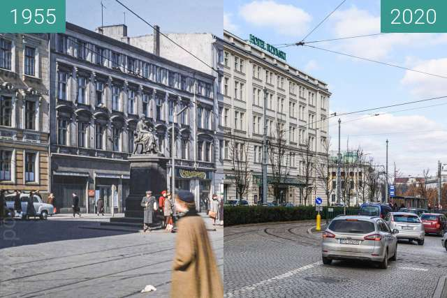 Before-and-after picture of Aleje Marcinkowskiego between 1955 and 2020-Mar-08