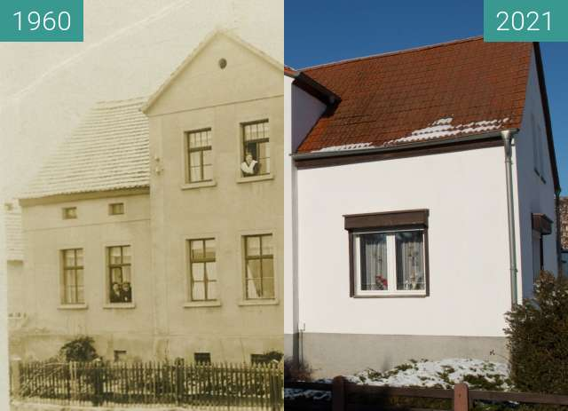 Before-and-after picture of Dorfstraße Teicha / Privathaus between 1960 and 2021-Jan-31