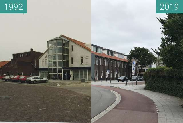 Before-and-after picture of Kwakelkade cheese warehouse between 1992-Mar-10 and 2019-Jul-16