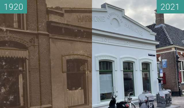 Before-and-after picture of Theater Harmonie 1920-2021 between 1920 and 2021-Mar-23